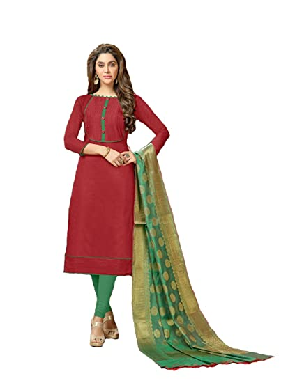 f44c70bfbf Shree Ganesh Retail Womens Banarasi Jacquard Churidar Salwar Kameez  Unstitched Dress Material (4001 RED & GREEN): Amazon.in: Clothing &  Accessories