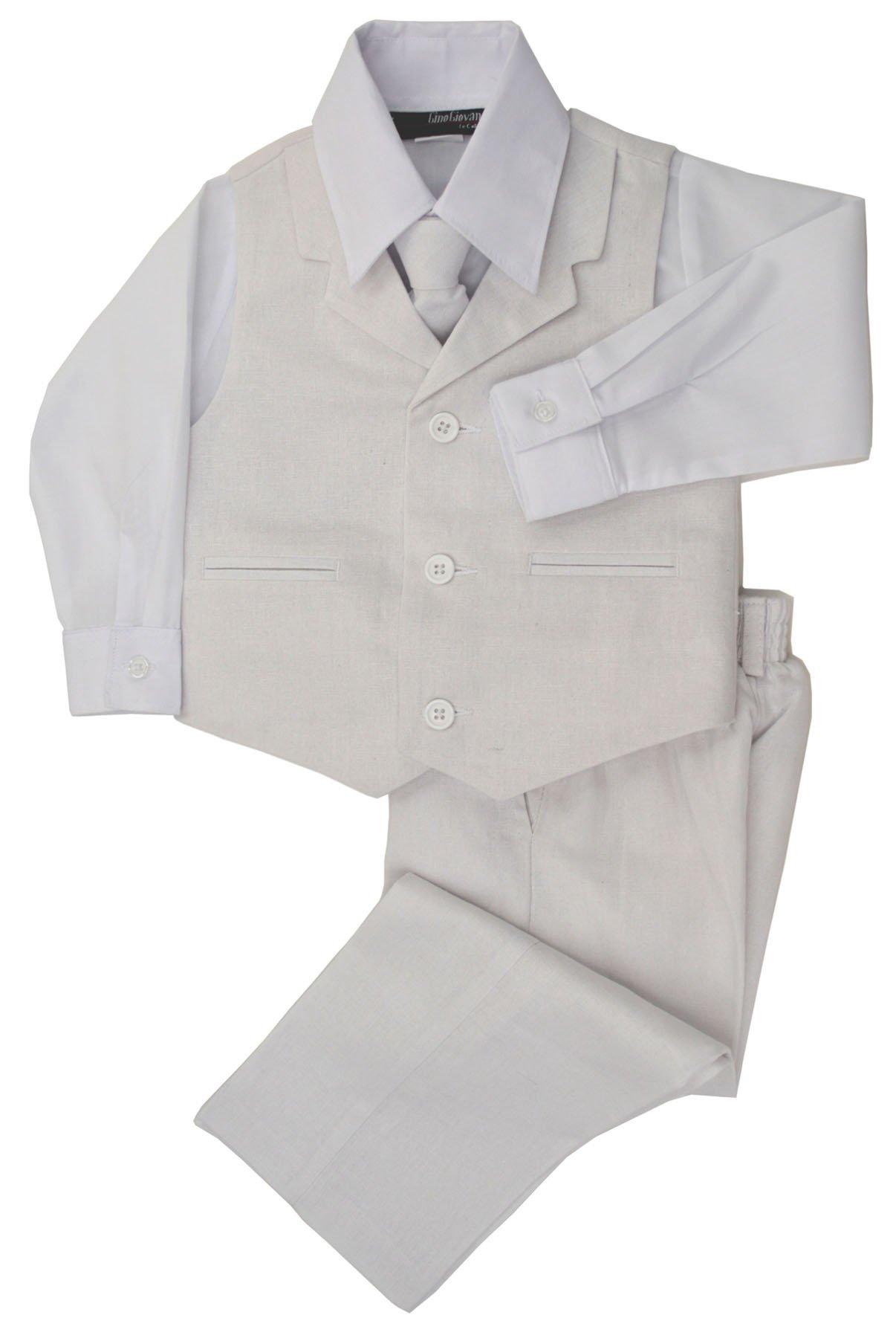 G270 Boys Summer Linen Blend Suit Vest Dresswear Set (3T, White)