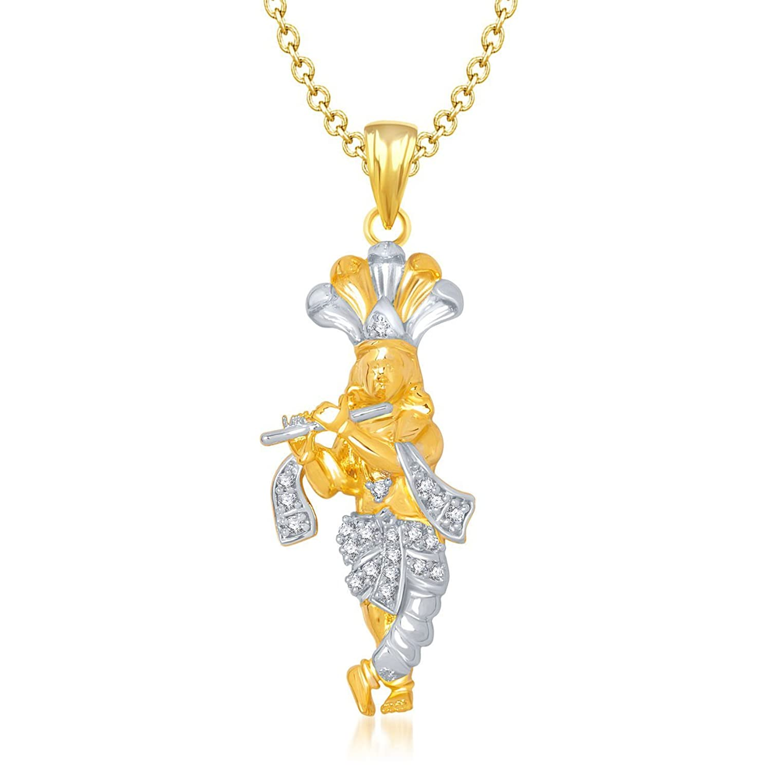 chain krishna american jewellery in amaal god pendant amazon diamond cz dp for women men plated with gold