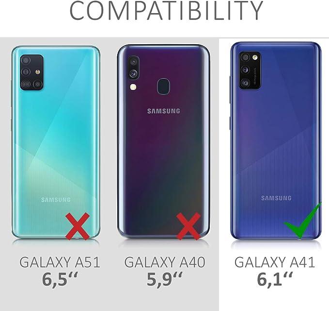 Jembous Coque de protection en silicone pour Samsung Galaxy A41 Transparent Motif fleurs 360 /°