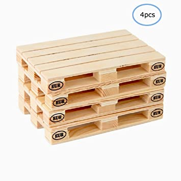Hanperal 4 Wood Beverage Pallets Mini Wooden Pallet Coasters For