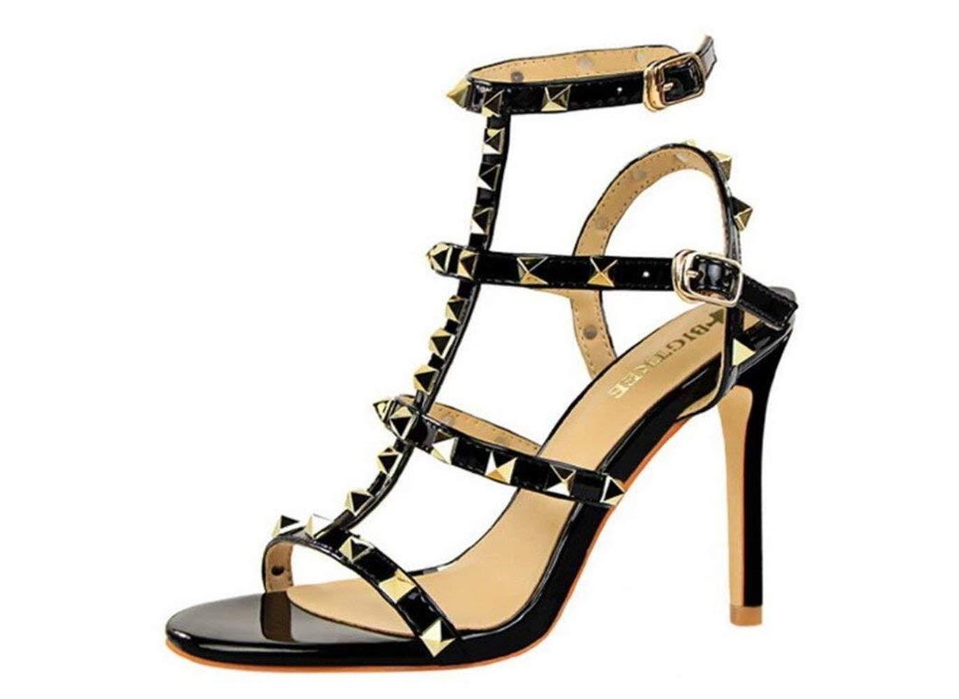Moontang Frauen Sandalen High Heels Niet PU Peep Toe Pumps Satin Braut Damen Frauen Hochzeit Party Schuhe, 10 cm (Farbe   Schwarz, Größe   EU40)