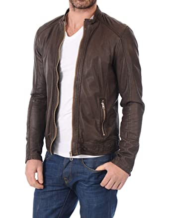 24515d6d86d LEATHER FARM Men s Lambskin Leather Bomber Motercycle Jacket at Amazon  Men s Clothing store