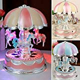 yodaliy Creative Wonderful Gift,Romantic Merry-Go-Round Music Box Flash Light Baby's Room Lamp Bedside Light Home Decor Carousel Kid Gift Birthday (Pink Purple)(Purple)