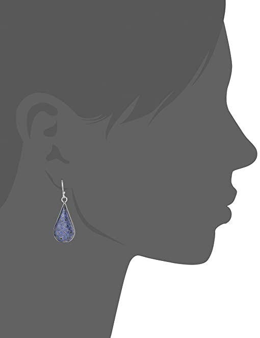 Amazon.com: Sterling Silver Blue Pressed Flower Teardrop Earrings ...
