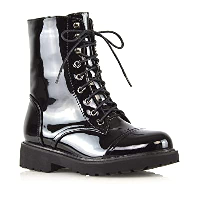 007c70fb64f37 Amazon.com | ESSEX GLAM Womens Lace Up Ankle Boots Chunky Grip Sole ...