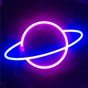 Ninboca Blue Planet Neon Signs Kids Room Decor Pink Neon Signs Led Neon Sign Plug in Wall Light Battery USB Powered Party Supplies Girls Room Decor Led Neon Light Sign for Bedroom Wall Decor