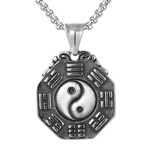 NEW Handmade Black /& White YIN YANG Symbol Taiji Bagua Pendant Necklace