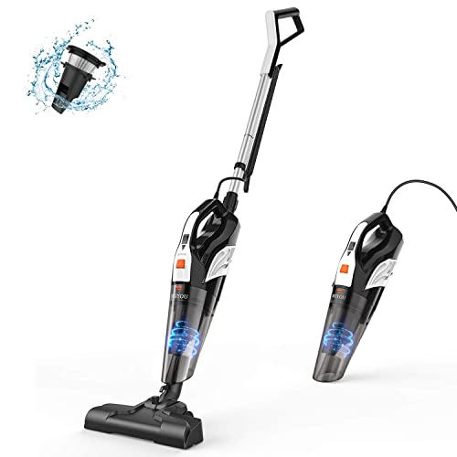 Stick Vacuum Cleaner, Meiyou 18000Pa Powerful Suction Stick Handheld Corded Vacuum Cleaner Dry Wet Lightweight Household Stick Vacuum with Stainless Steel Filter for Home Office,Gift