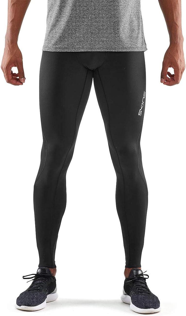 SKINS DNAmic Long Tights Compression Athletic Bottoms Mens Black Large