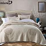 mixinni Solid Beige 100% Cotton 3-Pieces Quilt Set Flower Pattern Quilted Bedspread Bed Cover Sheets Coverlet Bedding, Lightweight &Soft-Full/Queen(91''x98'')
