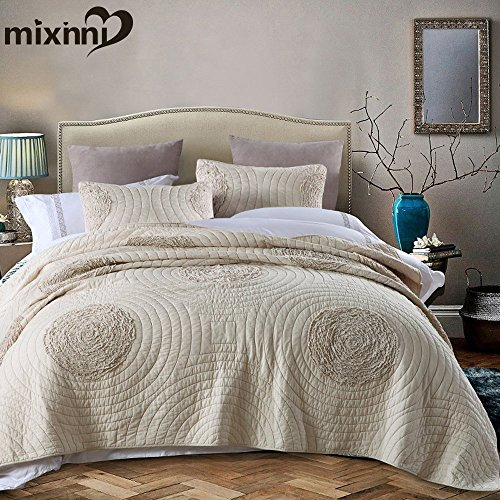 mixinni Quilt Set Beige California King Size 106'' x 96'' Cl