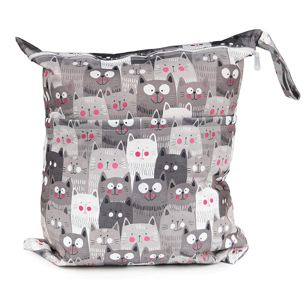 Animals LAMEIDA Baby Diaper Bag Nappy Bag Cute Cat Birds Printed Infants Waterproof Washable Wet Dry Bag Double Zippered Diaper Nappy Storage Bags