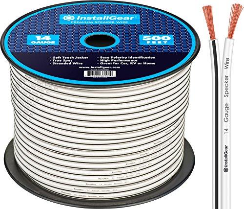 InstallGear 14 Gauge AWG 500ft Speaker Wire Cable – White