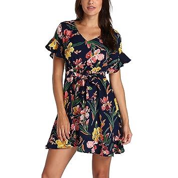 Vestido para mujer – Saihui floral estampado mangas de volante estilo étnico V cuello cintura ajustado