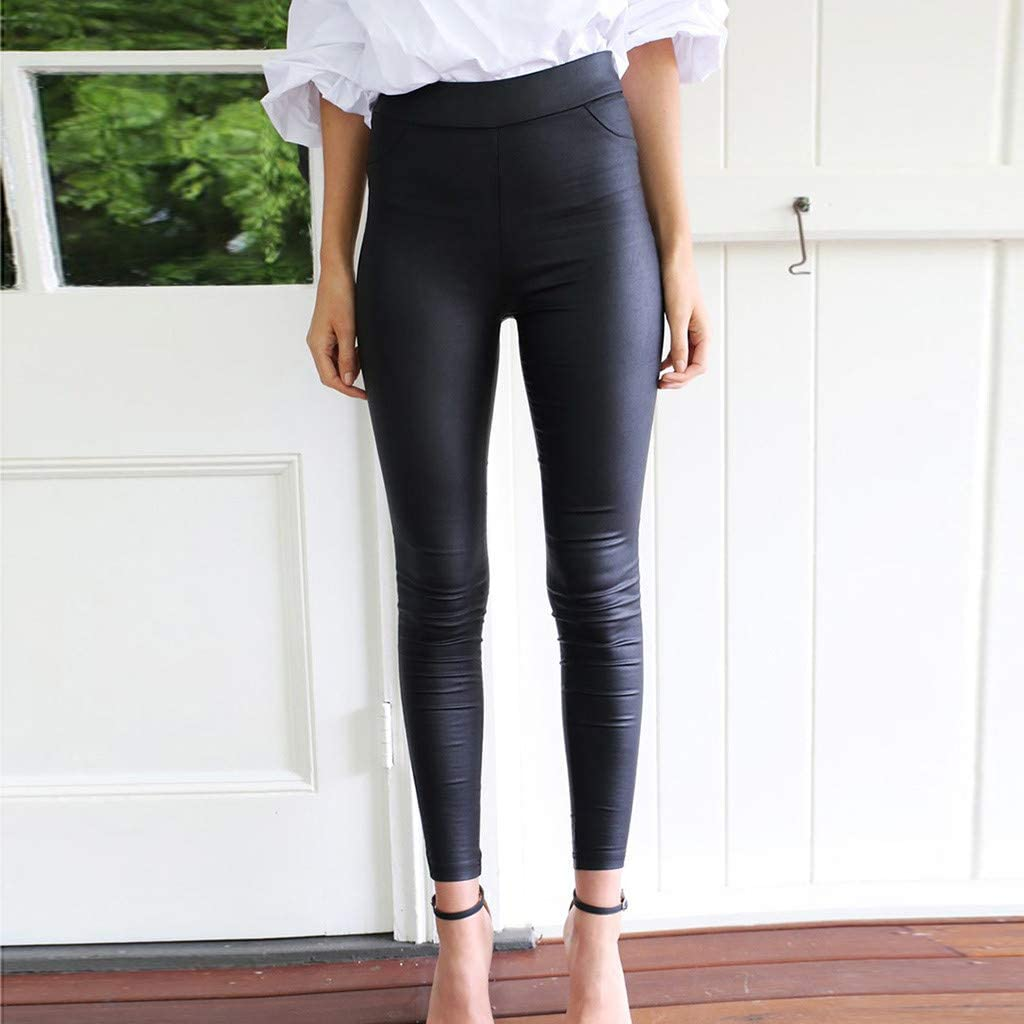 Pantalones Mujer Chandal Tallas Grandes EláSticos ImitacióN Cuero ...