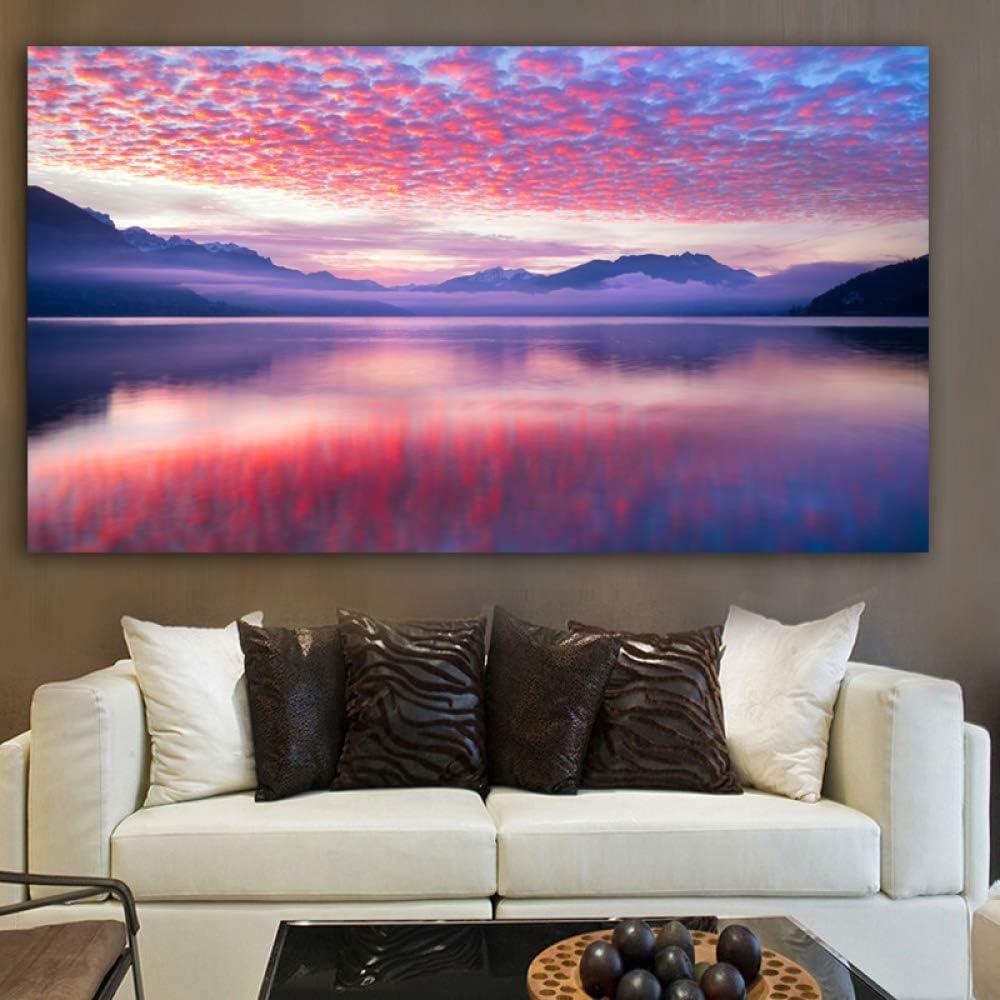 NIMCG Cartel Lienzo Pintura Paisaje montaña Nube Arte de la Pared Cuadros de la Pared para la Sala Cuadros decoración del hogar R1 70x125 cm: Amazon.es: Hogar