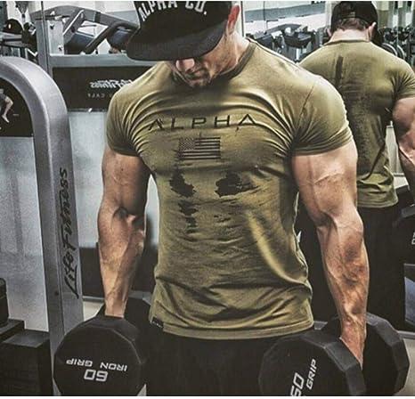 GKKYU Chaleco De Manga Corta Camiseta Militar para Hombre del Ejército Militar para Hombre Camiseta Suelta De Algodón O-Cuello Camisetas De Manga Corta De América: Amazon.es: Deportes y aire libre