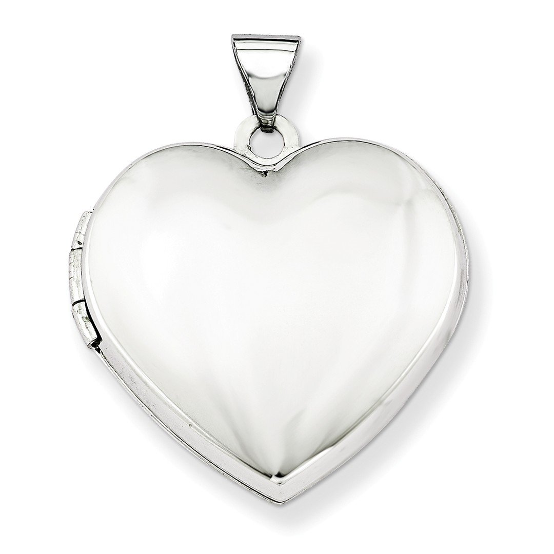 ICE CARATS 14k White Gold 21mm Heart Plain Domed Family Photo Pendant Charm Locket Chain Necklace That Holds Pictures Fine Jewelry Gift Set For Women Heart