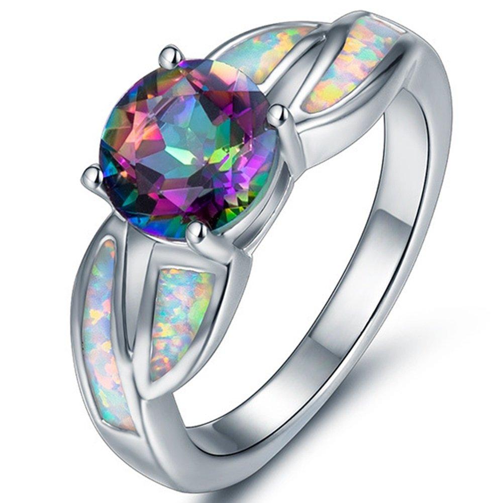 Jude Jewelers Rhodium Plated Fire Opal Cubic Zircon Wedding Engagement Anniversary Ring JR821