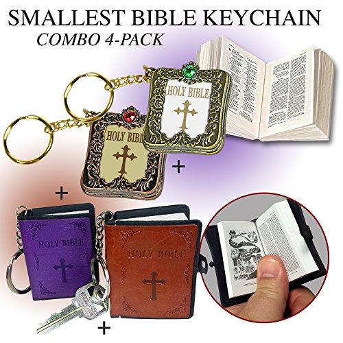 Smallest Bible Keychain Combo Pack (Bronze Metallic Cover)