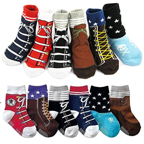 6 Pairs Baby Anti Slip Ankle Socks Infant Toddler Cotton Non-Skid Crew Knit Stripes Walker Footsocks 12-24 Months (Multicolor A)