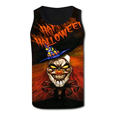 ce6523a9 HNkiha Mens 3D Printed Tank Tops Fantasy Halloween Evil Cl-own Vest  Sleeveless Casual Shirt at Amazon Men's Clothing store: