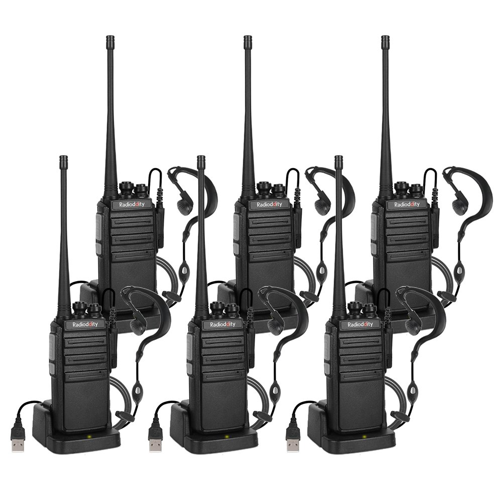 Radioddity GA-2S UHF 16CH Two Way Radio Long Range Walkie Talkies Perfect for Hunting/Fishing / Camping/Security Team with Micro USB Charging + Earpiece + 1 Programming Cable (6 Pack)