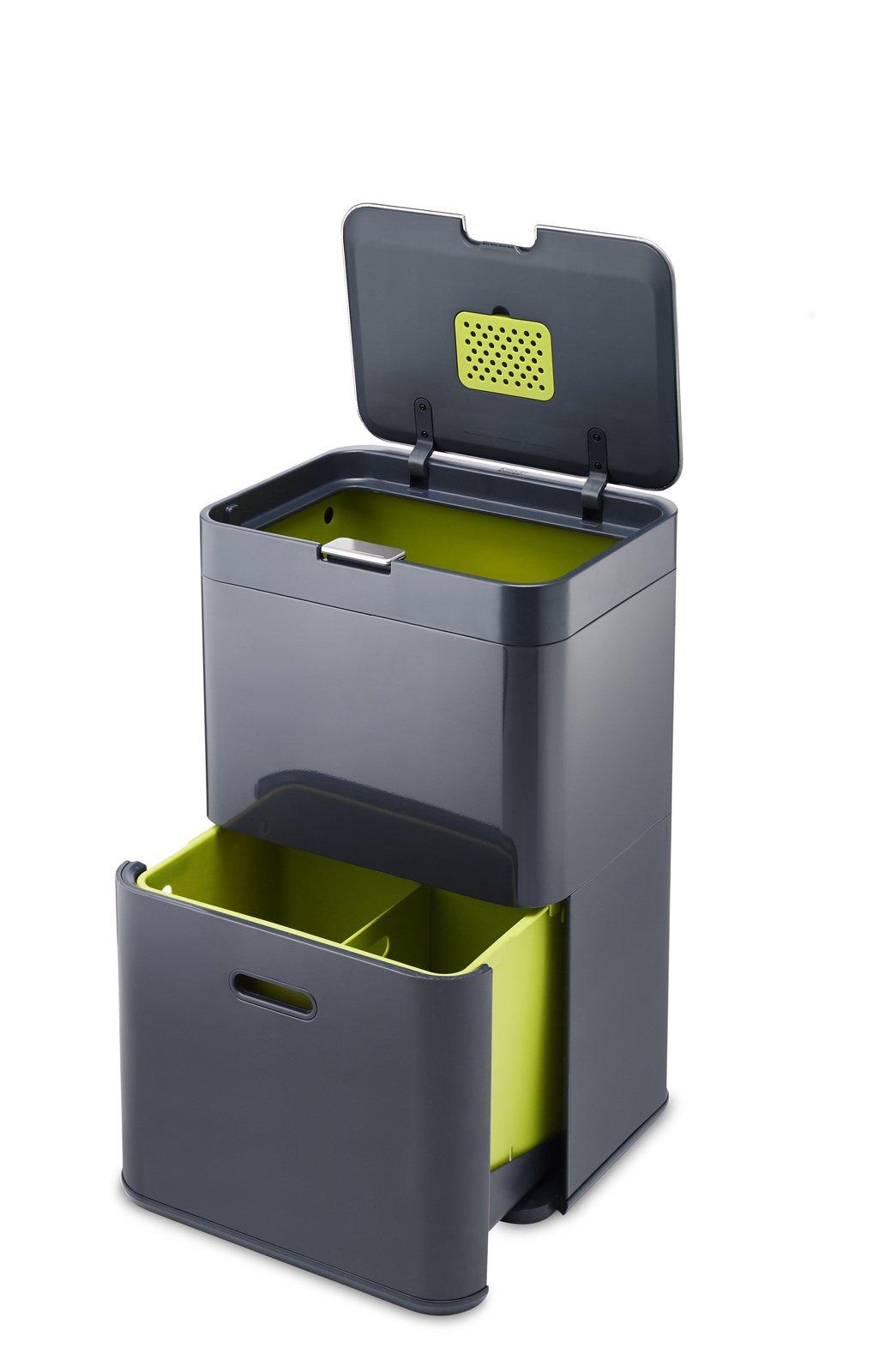 Joseph Joseph 30020 Intelligent Waste Totem Trash Can and Recycler Unit Garbage Can Recycling Bin, 13-gallon, Gray by Joseph Joseph