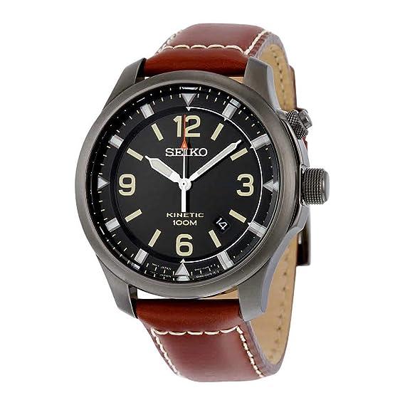 Seiko Kinetic para hombre-reloj analógico de cuarzo cuero SKA691P1: Amazon.es: Relojes