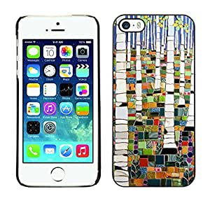 Soft Silicone Rubber Case Hard Cover Protective Accessory Compatible with Apple iPhone? 5 & 5S - forest painting abstract birch