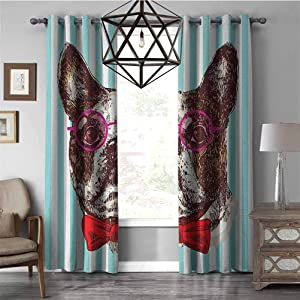 All of better Honeymoon Curtains GermanPop Art Hand Drawn Bulldog Sketch on Striped Background Funny Animal with Glasses Christmas Curtains for Living Room, Multicolor W96 x L84 Inch