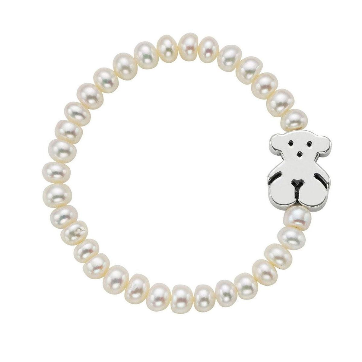 TOUS Jewelry ''Icon Pearl Silver'' Freshwater Pearl with Small Sterling Silver Bear Stretch Bracelet