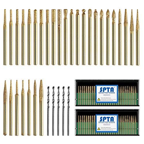 SPTA 60Pcs Titanium-Coated Diamond Drill Bit, Diamond Grinding Head Mounted Burr Point Set, with 5Pcs 3mm Twist Drill Bit 1/8