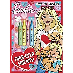 Barbie Valentine's Day coloring in book with crayons and stickers for kids Furr-Ever Friends!