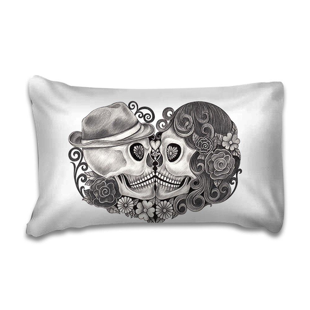 150x200cm Bettw/äsche Set 3D Liebhaber Skull Wei/ßer Hintergrund Schwarz Sch/ädel Kissing Bettbezug mit Kissenbezug Einzelbett Doppelbett King Size