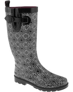 Amazon.com   Capelli New York Ladies Daisy Lace Printed Rain Boot ...