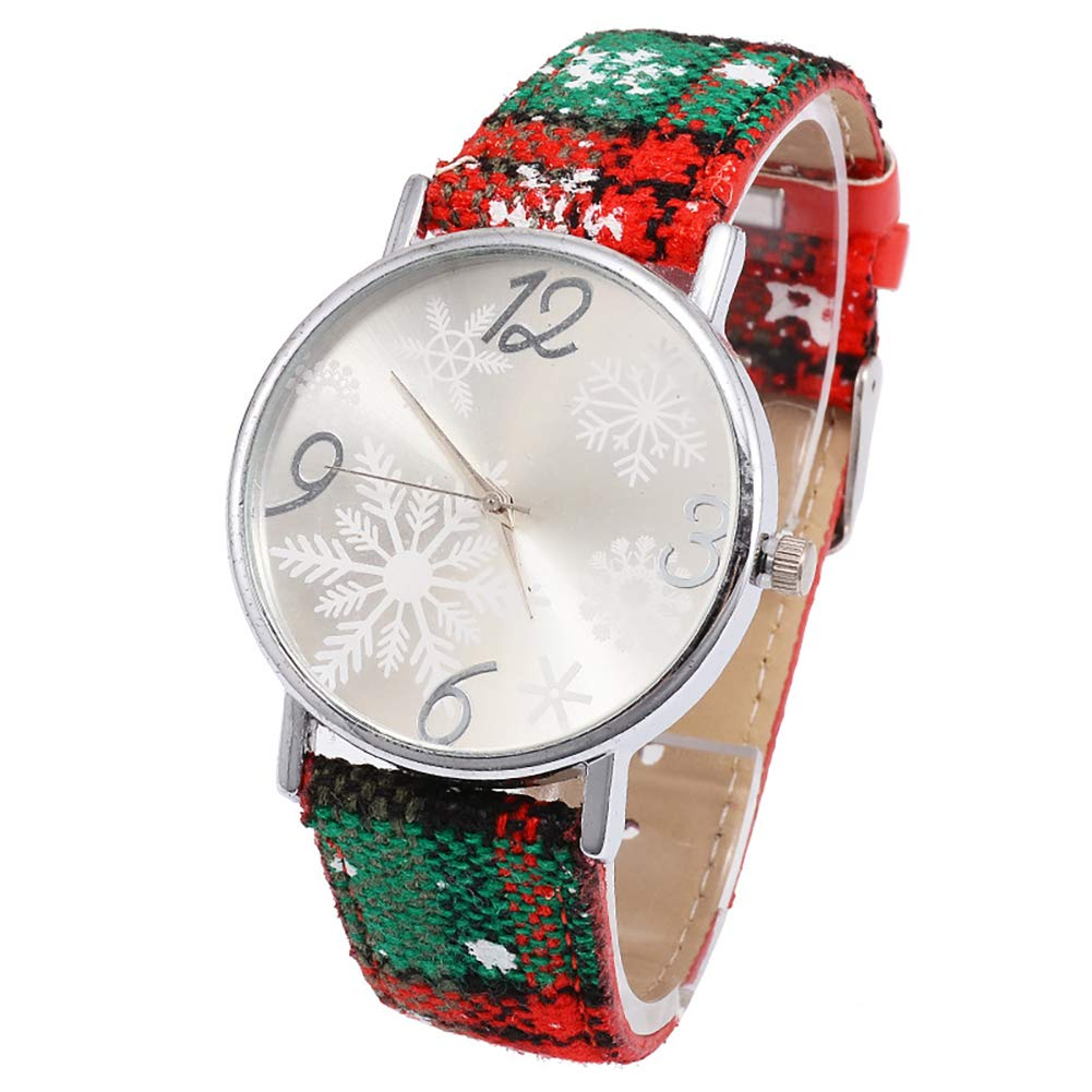 YaptheS 1PC Christmas Watch Quartz Wrist Watch with Casual Snowflake Belt Wristwatch Xmas Gift for Girls(Silver) Christmas Style