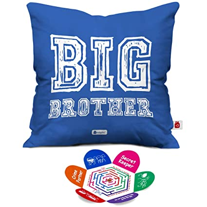 Indigifts Raksha Bandhan Gifts For Brother Big Quote Blue Cushion Cover 12x12 Inches With Filler