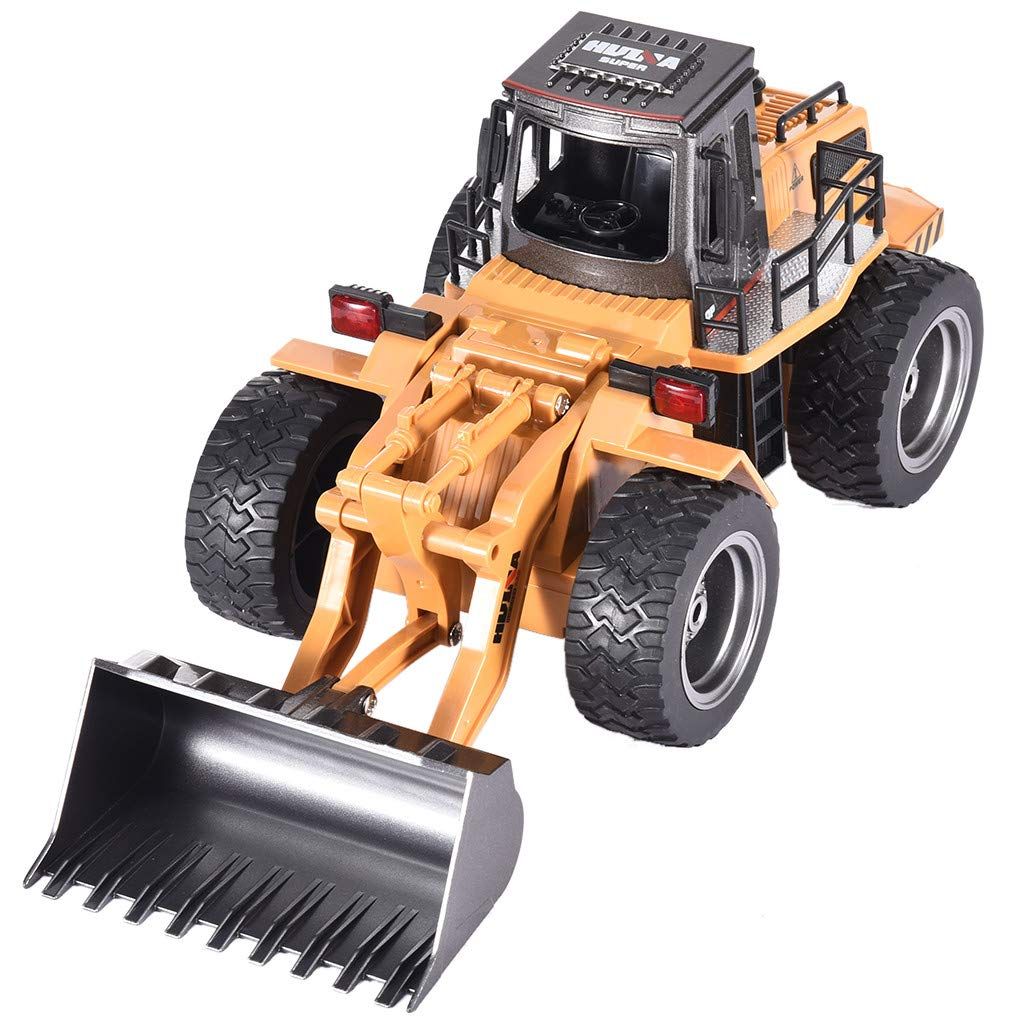 Jinjin Rc Car 1/18 2.4G 6 Inch 4.8V 400Mah Alloy Bulldozer Engineering Vehicle Remote Control Car Excavator Toy for Boys, Girls (Yellow) by Jinjin