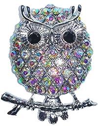 Stunning Owl On Branch Aurora Borealis Austrian Crystal Brooch Pin