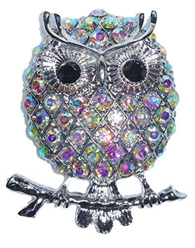 Spoontiques Stunning Owl on Branch Aurora Borealis Austrian Crystal Brooch - Borealis Austrian Crystal Aurora
