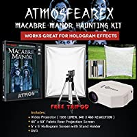 AtmosfearFX Macabre Manor DVD Ultimate Haunting Kit, Includes Translusent Screen, Hologram Screen With Stand Kit and Free Tripod