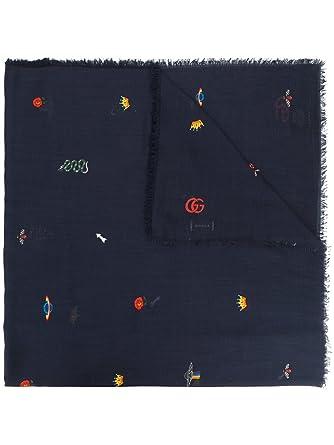 eb7b78cc886 Gucci Homme 4759424G4634000 Bleu Coton Écharpe  Amazon.fr  Vêtements ...
