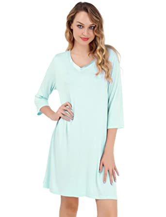 9f7f6c6a9e44 UUANG Women s Nightgown V Neck Sleepwear 3 4 Sleeves Sleep Dress Nightshirt