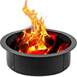 VBENLEM Fire Pit Ring 36-Inch Outer/30-Inch Inner Diameter, Fire Pit Insert 3.0mm Thick Heavy Duty Solid Steel, Fire Pit Line