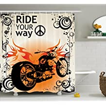 Ambesonne Manly Decor Shower Curtain Set, Motorcycle Image With Ride Your Way Text Peace Sign Freedom Action Freestyle, Bathroom Accessories, 69W X 70L Inches