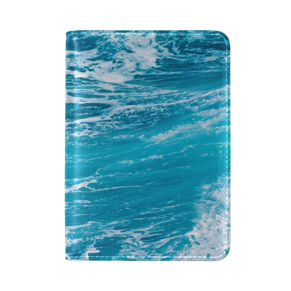White Blue Ocean Waves Water One Pocket Leather Passport Holder Cover Case Protector for Men Women Travel