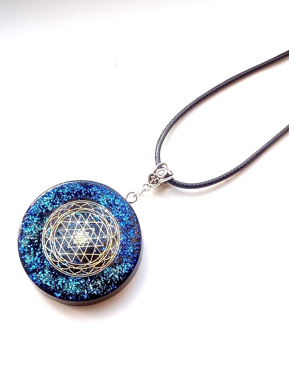 New Age. Orgone Orgonite/® pendant necklace blue Sri Yantra,Meditation Reiki