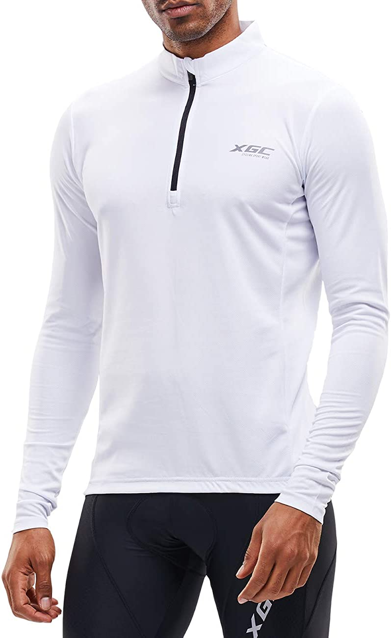 XGC Mens Long-Sleeved Cycling Jersey Cycling Shirt Cycling Shirt Cycling Clothing for Men with Elastic Breathable Quick Drying Fabric
